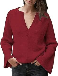 Women's Deep V Neck Flounce Bell Sleeve Knit Sweater Solid T Shirt