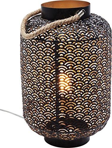 Kare–Lámpara de suelo, pantallas: metal acero lacado, cuerda: textil cáñamo, Negro, 30x 30x 48cm