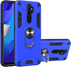 Hemobllo Phone Case Compatible for Oppo A5 2020/Oppo A9 - Rugged Armor Shockproof Back Cover Ring Stand Chariot Protective Phone Cover Shell (Blue)