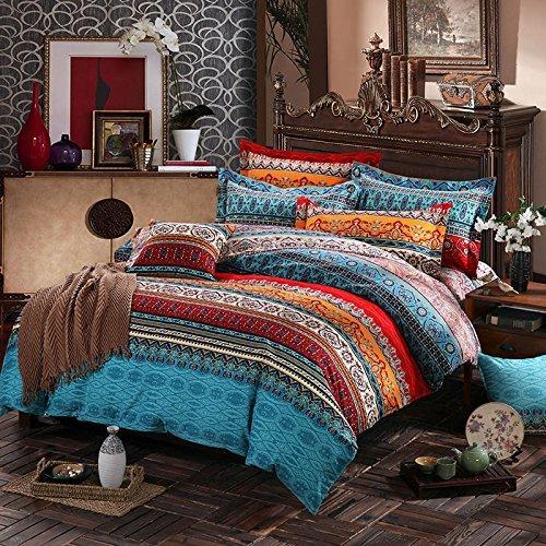 Unimall Boho, juego de 3 piezas de funda nórdica, estilo bohemio exótico, 100 % algodón acolchado, juego de cama Patchwork de 152x208 cm, algodón, Rojo, 86*94 Inch