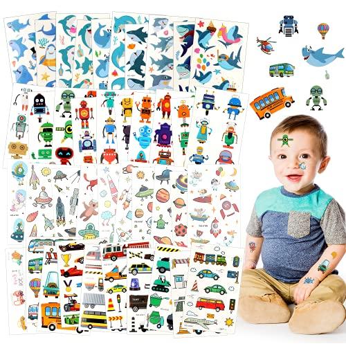 Tatuajes Temporales para Niños, 40 Hojas Tatuajes Temporales Pegatinas, Pegatinas de Tatuajes Impermeables para Unicornios, Animales, Tiburones, Alpacas y Sirenas, Regalos de Decoración de Fiestas (C)