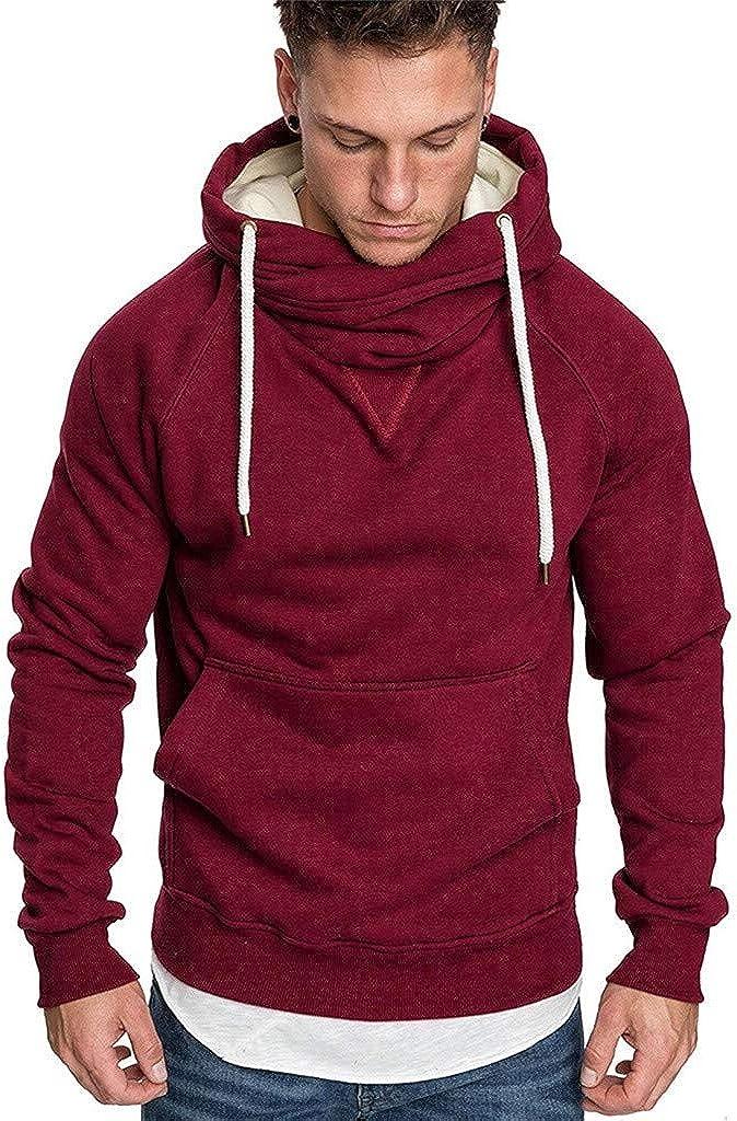 Mens Turtleneck Hoodie Solid Color Basic Hooded Sweatshirt Long Sleeve Hooded Pullover Tops Plus Size