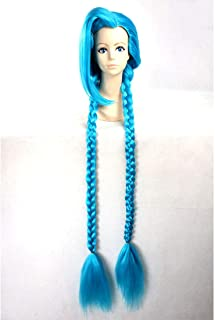 HOOLAZA Blue 2 Long Braided Ponytails Wig League of Legends Jinx The Loose Cannon for the Halloween Party Cosplay Wigs
