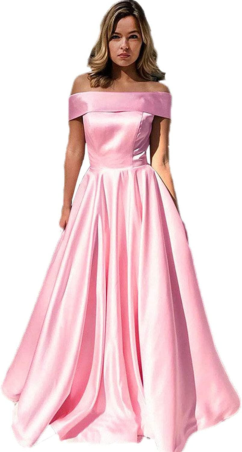 Fashionbride Women's Satin A Line Off The Shoulder Evening Prom Dresses with Pockets