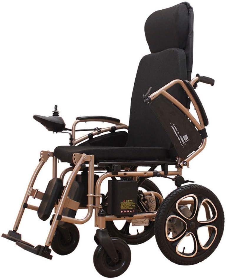 YANGLOU- Sillas de ruedas eléctricas plegables, silla de ruedas eléctrica, batería de litio de plomo-ácido con polimador de silla de ruedas eléctrica plegable (controlador derecho), negro OUZDDDLY-