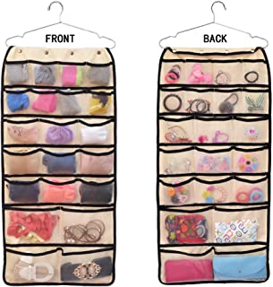 comfitis Hanging Closet Dual-Sided Organizers Oxford with 42 Mesh Pockets-Canvas Storage Bag for Stockings Socks Underwear Jewelry Organization