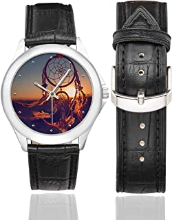 InterestPrint Boho Ethnic Dreamcatcher Waterproof Women's Stainless Steel Classic Leather Strap Watches, Black