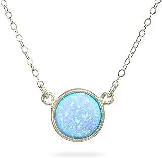 Ciondolo in opale blu Collana in argento sterling con gemma 10 mm opale Ciondolo lunghezza 41 cm / 16 pollici + 5 cm di es...