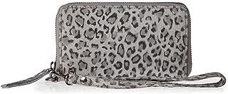 Ichi Wristlets Bag for Women - Leather, Zinc (Grey)