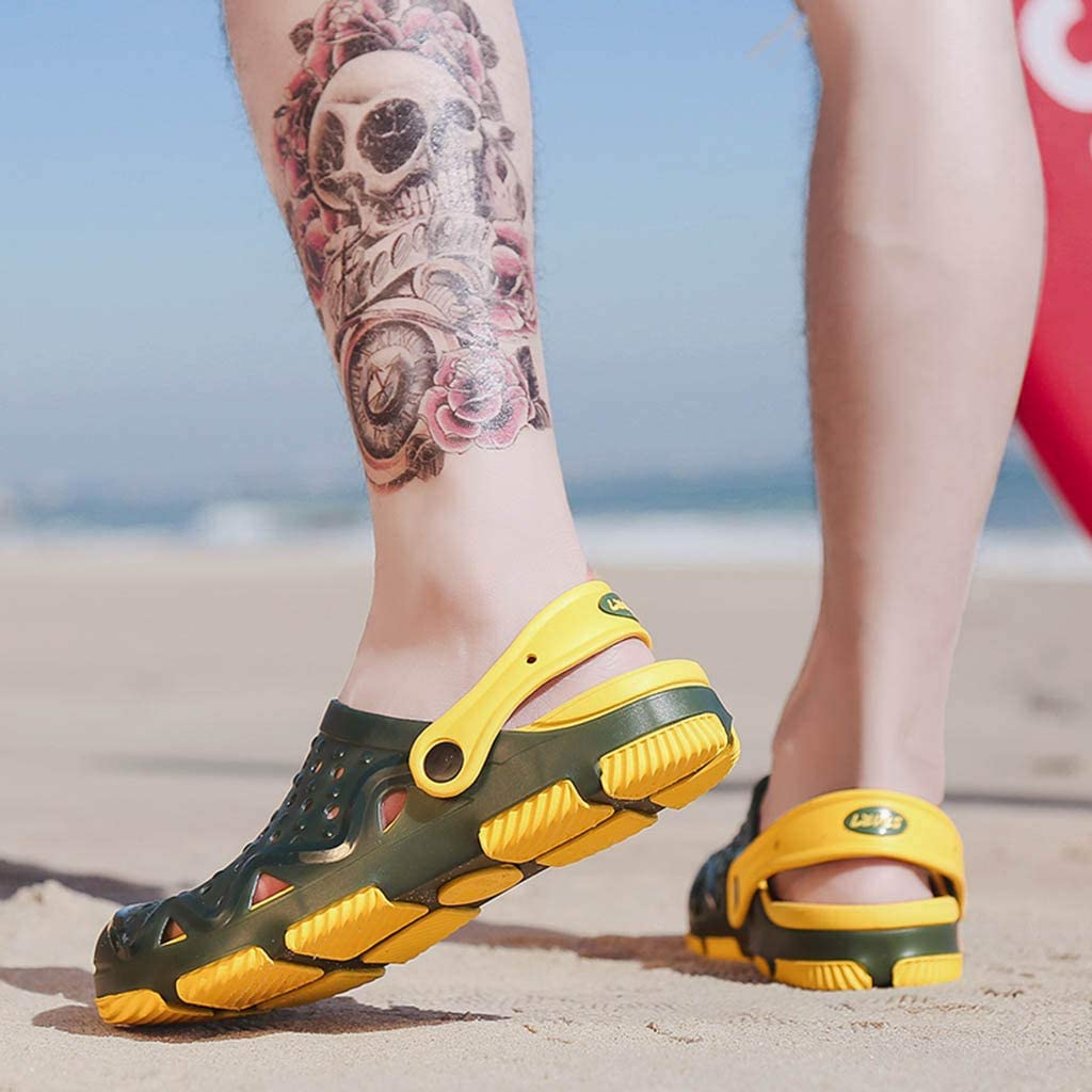 Toraway Mens Beach Sandals Hollow Out Casual Breathable Slippers Flats Shoes Non-Slip Sandals Casual Water Shoe Clogs