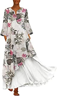 Abito Vestito Gonna Jumpsuit Plus Size Women Vintage V Neck Splicing Floral Printed Long Sleeves Maxi Dress tulle bambina ...