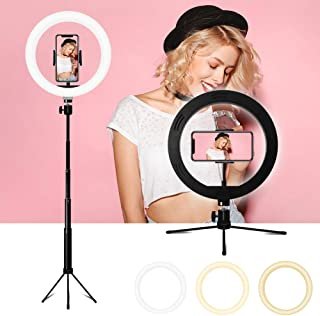 "Anillo de luz LED, 10"" Ring Light 3 Colores 10 Brillos Regulables Control Remoto Bluetooth, Aro De Luz LED Regulable con T..."
