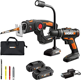 WORX WX912L 20V Cordless Drill Driver WX101L, 20V Cordless AXIS Multipurpose Saw WX550L and 20V Flexible LED Light WX028L Combo Kit Battery and Charger Included