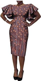 African Ankara Print Short Butterfly Sleeve O-Neck Knee-Length Casual Women Dresses 100% Batik Cotton Made AA7225133