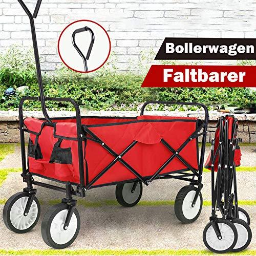 Bollerwagen Faltbar Handwagen Transportkarre Klappbar Transportwagen Gartenanhänger Faltwagen Strandwagen Vollgummireifen Vorderräder 360° drehbar,bis 100 kg Tragkraft, Rot