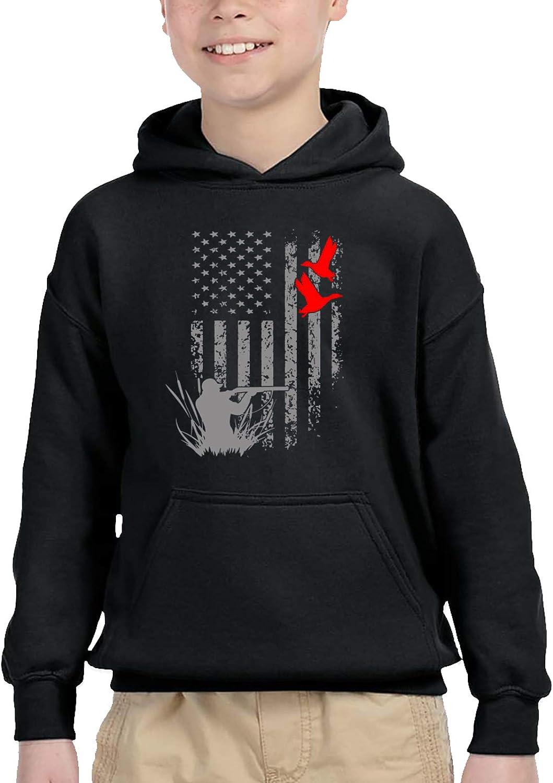 Hunting Duck Geese American Flag Kids Hooded Sweater Casual Sweatshirt For Baby Boys Girls