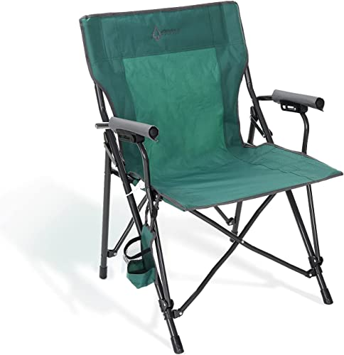 discount ARROWHEAD OUTDOOR Portable Solid Hard-Arm High-Back Folding Camping Quad Chair, Heavy-Duty Carrying Bag, Cup Holder popular Included w/Side Pouch, popular Supports up to 300lbs, USA-Based Support online sale