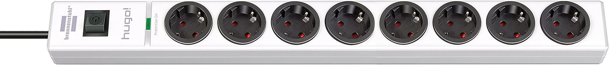 Brennenstuhl hugo! Stekkerdoos 8-voudig met overspanningsbeveiliging (2 m kabel en schakelaar, behuizing van onbreekbaar p...