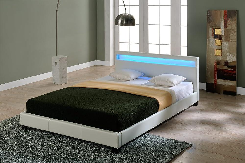 Corium, letto imbottito illuminazione led,con rete a doghe di legno Variante_Betten_Paris