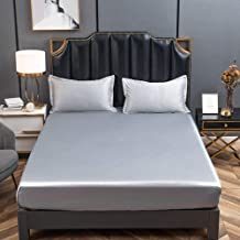 Mattress Protecting Sheet Sweat Liquid Moisture and Dust Mite Protection,Ice Silk Solid Color Fitted Sheets,Non-Slip Prote...