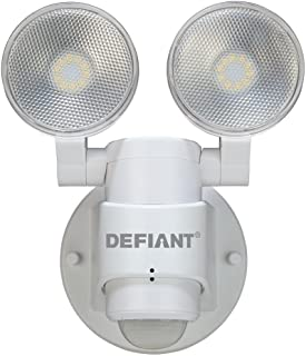 LED Motion Sensor Security Light By Defiant | 180 Degree 180 Degree 2-Head White Outdoor Weatherproof Spot Lights | Bright Lumens |Tool-less Lamp Adjustments
