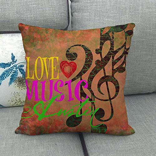 LPLH Símbolo de la música crisantemo Lino cifrado Funda de Almohada de Lino Fino Funda de cojín Estilo Minimalista Moderno Ym211-3_45 * 45cm