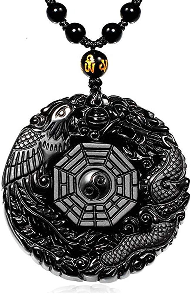Axmerdal Black Natural Obsidian Crystal Oriental Dragon Shaped Pendant Necklace with Adjustable Rope