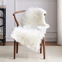 LEEVAN Faux Fur Rug Supersoft Plush Fluffy Chair Cover Sheepskin Rug Seat Cover Shaggy Throw Floor Mat Carpet Accent Rugs- 2 ft x 3 ft, Ivory White