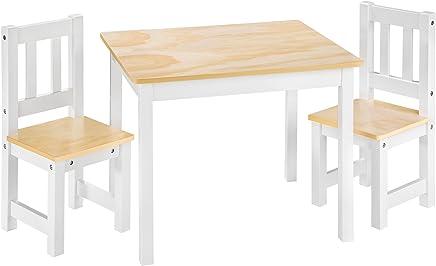 TecTake Ensemble Table et 2 chaises pour Enfants en Bois   Naturel Blanc