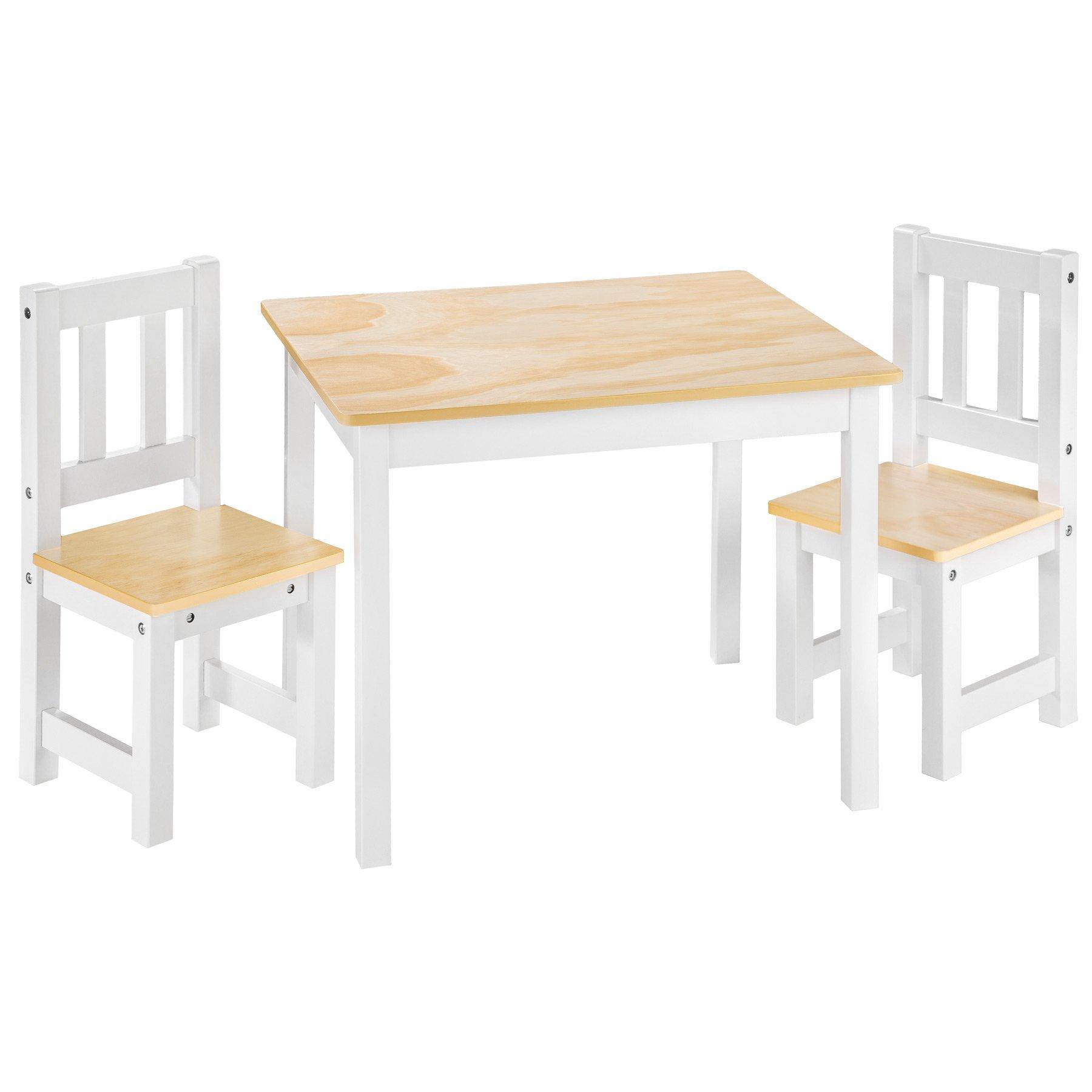 TecTake Conjunto de Muebles Mesa y 2 sillas para niños infantieles Madera Blanco: Amazon.es: Hogar