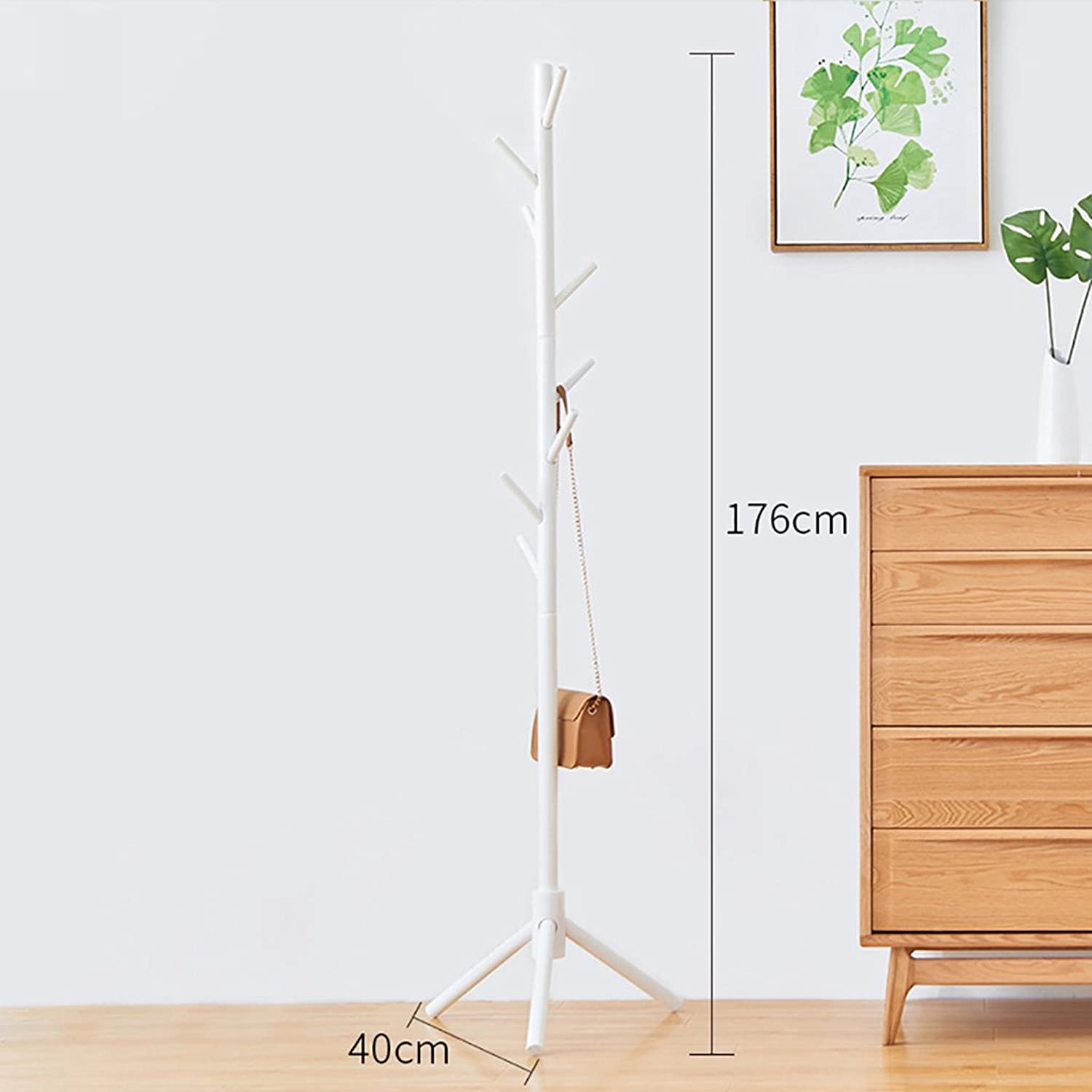 JPYMJ Wooden Coat Stand 8 Hooks Hat and Coat Rack Free Standing Tree Clothes Rail Hanging Storage Organiser for Entryway Hallway Bedroom Closet Wardrobe 176CM (color   1, Size   176cm)