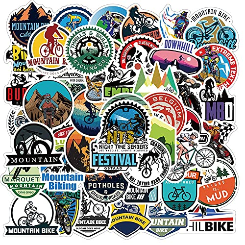 JZLMF 50 pegatinas impermeables para bicicleta de montaña, para equipaje de moto, maleta o portátil, para llevar en bicicleta o en bicicleta