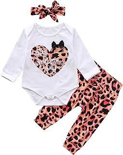 Haokaini Neugeborenes Baby Säugling Valentinstag Outfits Strampler  Hosen Rock Stirnband Leopard Kleidung für Kleinkind