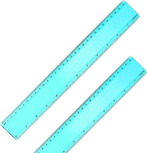 2 Pack Plastic Ruler Straight Ruler Plastic Measuring Tool for Student School Office (Green, 12 Inch)