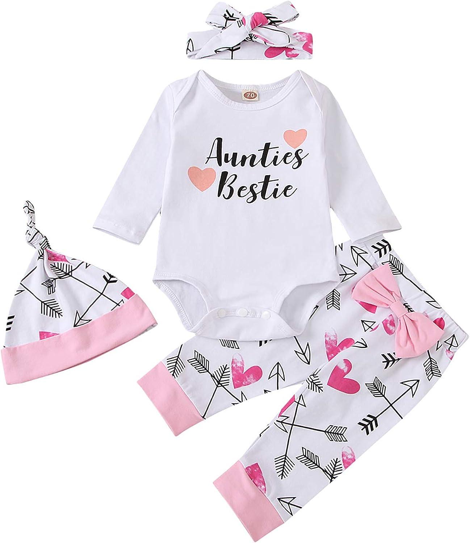 Newborn Baby Girl Clothes Letter Print Romper Long Sleeve Bodysuit Bowtie Pants Outfits Set