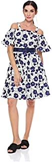 Elle Printed Strappy With Belt Pleated Dress for Women