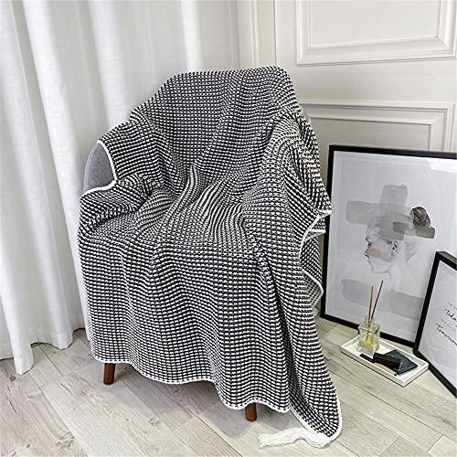 TENGTUD Manta de Punto, Manta a Cuadros de Doble Cara para Cubrir la Manta / Manta de Aire Acondicionado / Manta de sofá / Manta de cama-110x150cm