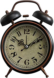 DDGOD Vintage Alarm Clock,Classic Travel Alarm Clocks Silent Metal Non Ticking Clock Twin Bell Battery Powered Loud Desk Clocks for bedrooms-D 8x5x12cm(3x2x5in)