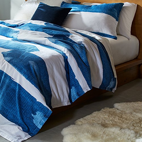 Amazon Brand – Rivet Modern Shibori Watercolor Garment-Washed Stripe, Full / Queen, Duvet Cover Bedding Set, 90' x 90', Indigo
