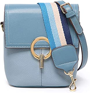 Women Summer Bucket Bag Pu Leather Small Flap-over Purse Designer Crossbody Bag with Wide Strap