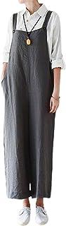 Ropa de otoño para Mujer Pantalones de Tirantes Lisos y Casuales con Perneras Anchas y Bolsillos para Mujer en Blanco/Gris...