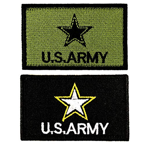 JumpyFire Stars USA Army Velcro Patch, 2 PCS Fully 3D Embroidered Military Morale Patches for Backpack Hat Jacket Jeans Uniform