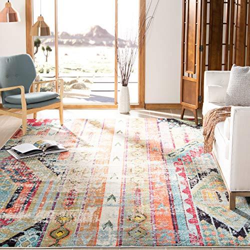 "Safavieh Monaco Collection Modern Bohemian Multicolored Distressed Area Rug (6'7"" x 9'2"")"