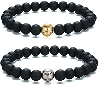 Baseball Stone Stretch Bracelet for Men Matte Beaded Sports Jewelry Black 2Pcs