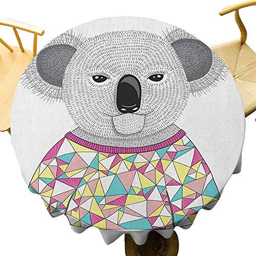 VICWOWONE Koala Mantel - Mantel redondo de 40 pulgadas multicolor Hipster Koala con camisa poligonal colorida con triángulos angulares animales australianos fácil de cuidar Multicolor