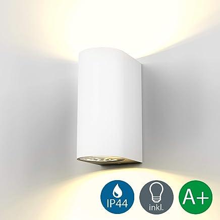 Aplique pared blanco para exterior y interior 2x5W, IP44, GU10, Lámpara LED de aluminio, luz blanca cálida de 3000 K