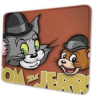 Mouse Pad with Stitched Edge - Tom and Jerry Mouse Mat, Non-Slip Rubber Base Mousepad for Laptop, Computer and PC