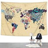 Bonnie Bone mapa del mundo–tapiz con material resistente, ligero, tela de algodón decorativo Tapiz (L59'X82,' colorido Mundo Mapa)