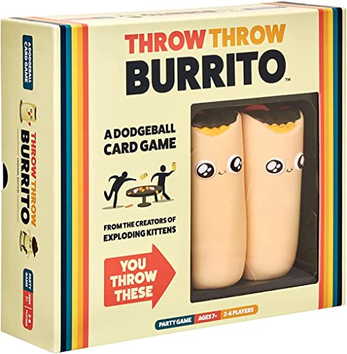 Throw Throw Burrito by Exploding Kittens - A Dodgeball Card Game - Family Card Game - Card Games for Adults, Teens & ...