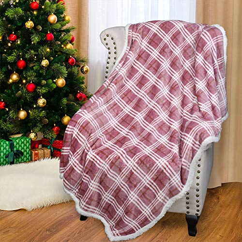 """Plaid Sherpa Throw Blanket, Plush Flannel Throws for Couch and Bed, Super Soft Reversible TV Blanket, Comfy Caring Gift 50""""x60"""", Buffalo Pink"""